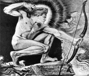 Stanisław Wyspiański Apolo disparando flechas infectadas con la peste en el campamento griego
