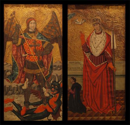 San Miguel y San Gregorio. S. XV. Taller de Pedro García de Benabarre. Museo Diocesano de Barbasro-Monzón. Foto A. Omedes