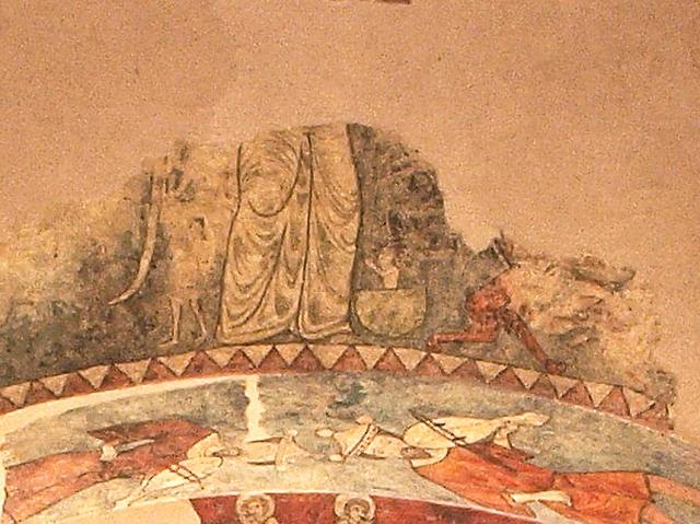 San Vicente de Vio. Detalle Psicostasis. S. XIII. Museo Diocesano de Barbastro-Monzón. Foto A. Omedes