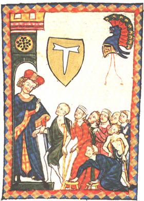 """Ilustración del Códice Manesse (s.XIII) mostrando un hospital de los Antonianos, con el emblema """"Tau"""""""