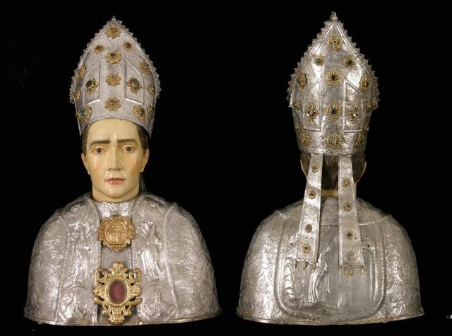 Busto de san Victorián, anverso y reverso. Museo Diocesano de Barbastro-Monzón