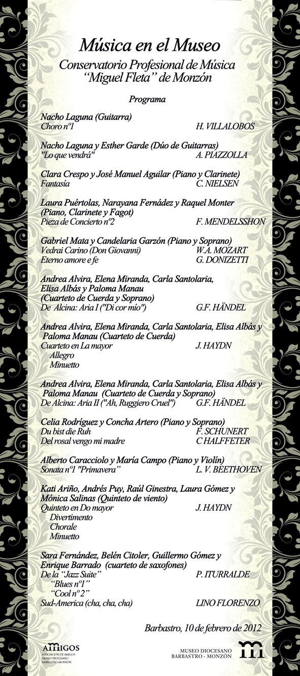 Programa Concierto Museo Diocesano de Barbastro-Monzón