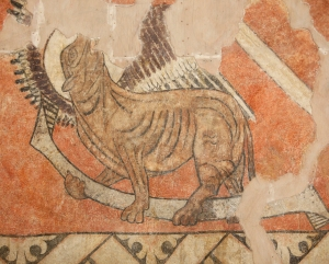 detalle León de San Marcos. Pantocrátor de Villamana. Museo Diocesano de Barbastro-Monzón