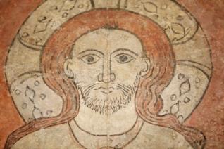 Detalle Pantocrátor de Villamana. Rostro de Cristo