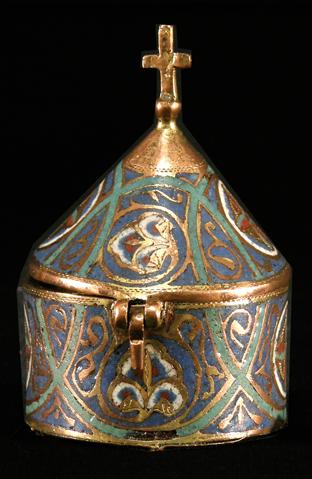 Píxide románico de cobre y esmalte. Museo Diocesano de Barbastro-Monzón