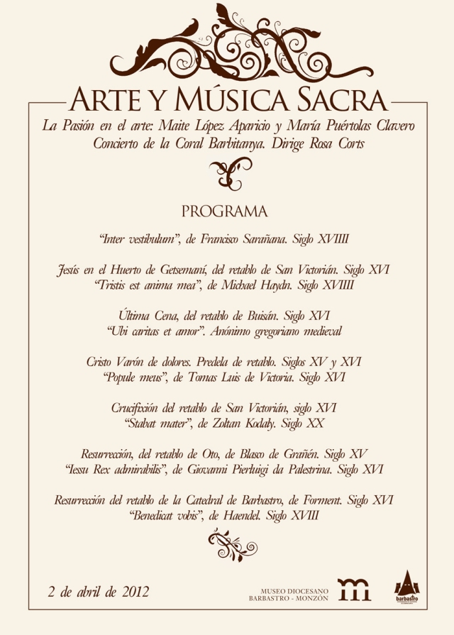 programa Concierto Semana Santa Museo Diocesano de Barbastro-Monzón