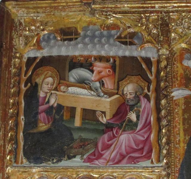 Natividad, detalle del Retablo de Oto, Blasco de Grañén. Museo Diocesano de Barbastro-Monzón