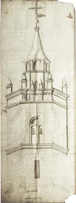 Traza de la ampliación de la torre campanario de Barbastro.  Pedro de Ruesta, 1610