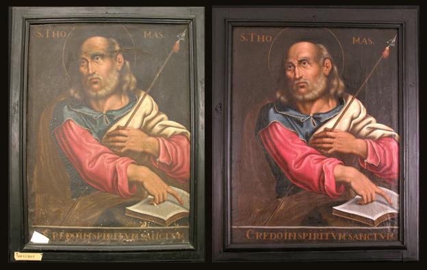 Santo Tomás, antes y después de la restauración. Museo Diocesano de Barbastro-Monzón