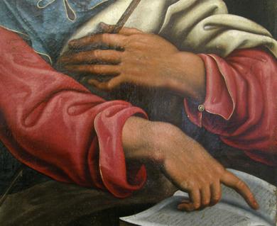 Santo Tomás, detalle. Museo Diocesano de Barbastro-Monzón