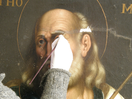 Santo Tomás, reintegración cromática. Museo Diocesano de Barbastro-Monzón