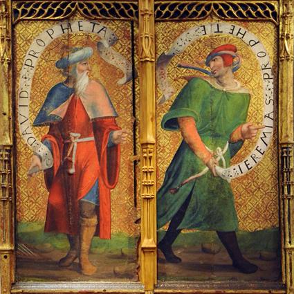 David y Jeremías. Detalle de puerta de retablo Templo y óleo sobre tabla. Siglo XVI ,Fanlo. Museo Diocesano de Barbastro-Monzón