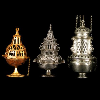 Incensarios Bronce y plata. Siglos XV, XVI y XVII. Museo Diocesano de Barbastro-Monzón