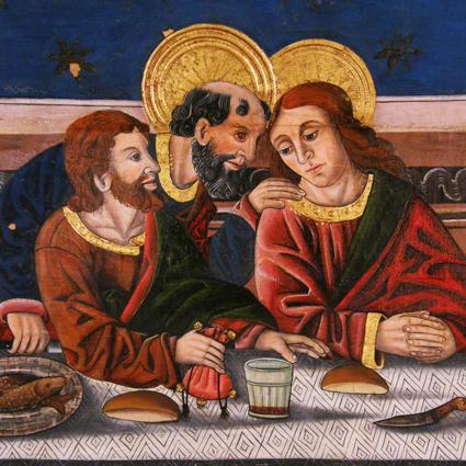 Última Cena. Detalle Temple graso sobre tabla. Siglo XVI, Buisán. Museo Diocesano de Barbastro-Monzón