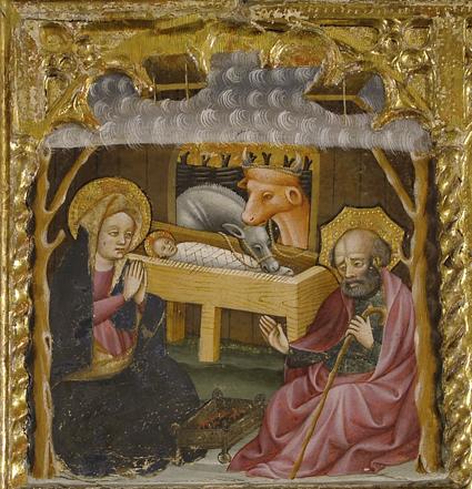 Natividad del Retablo de la Virgen con el Niño.  Temple graso sobre tabla. Mediados del siglo XV. Blasco de Grañén, Oto . Museo Diocesano de Barbastro-Monzón
