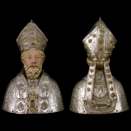 Busto relicario de San Ramón, anverso y reverso. Plata policromada. Siglo XVII, Barbastro. Museo Diocesano de Barbastro-Monzón