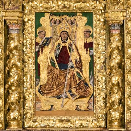 Retablo de San Victorián, detalle. Mazonería de madera dorada y policromada. Siglo XVIII, Monasterio de San Victorián. Catedral de Barbastro